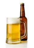 Кружка пива и бутылки Стоковая Фотография