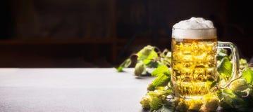 Кружка пива с пеной на таблице с хмелями на темной предпосылке, вид спереди Стоковые Фото