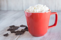 Кружка питья горячего шоколада зимы с взбитой сливк Стоковая Фотография