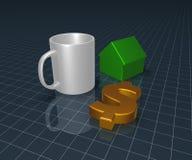 Кружка, символ доллара и модель дома иллюстрация вектора