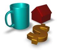 Кружка, символ доллара и модель дома иллюстрация штока