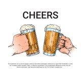 Кружка стекла пива владением руки веселит эскиз знамени фестиваля Oktoberfest бесплатная иллюстрация