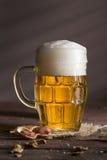 Кружка холодного светлого пива Стоковые Фотографии RF