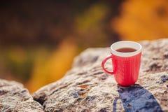 Кружка чая стоит na górze горы Стоковая Фотография