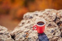 Кружка чая стоит na górze горы Стоковая Фотография RF