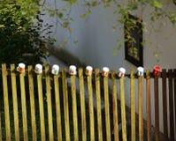 Кружки на деревянной загородке Стоковая Фотография