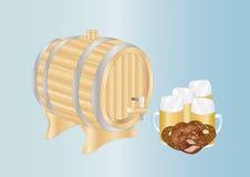 кружки пива бочонка Иллюстрация вектора