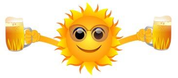 Кружки пива и солнце лета иллюстрация штока