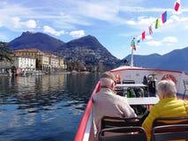 Круизы на озере Лугано, Швейцарии стоковые фотографии rf