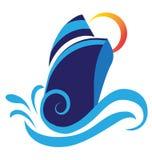 Круиз шлюпки развевает логотип пляжа бесплатная иллюстрация