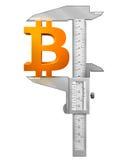 Крумциркуль измеряет символ bitcoin Стоковое Изображение