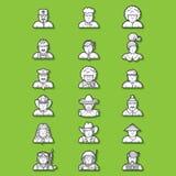 Крупно-комплект-контур-характер-люди Иллюстрация вектора