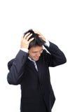 крупный бизнесс имеет детенышей тревоги человека Стоковая Фотография RF