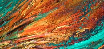 Крупный план абстрактной картины маслом апельсина и аквамарина на холсте, предпосылке цветов, нерезкостей, огня