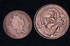 Крупный план австралийской монетки 1 и 2 центов Стоковое Изображение RF