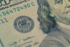 Крупный план банкноты долларовой банкноты Стоковое Изображение