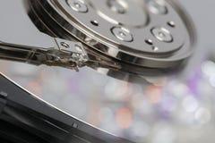 Крупный план внутри концепции безопасности данным по жесткого диска стоковое фото rf