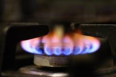 Крупный план горелки газовой плиты Стоковое Изображение