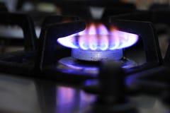 Крупный план горелки газовой плиты Стоковое Фото