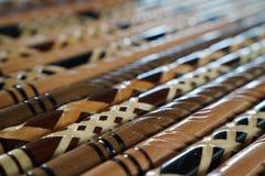 Крупный план деревянных идя ручек в различных картинах Стоковая Фотография