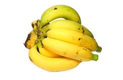 Крупный план желтого зрелого банана на белой предпосылке Стоковая Фотография