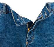 Крупный план застежки -молнии в голубых джинсах Стоковое Фото