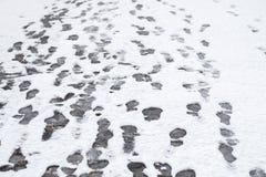 Крупный план зимы много footstprints в свеже упаденном снеге стоковые фото