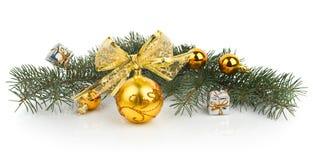 Крупный план золотистых шариков рождества Стоковое Фото