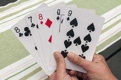 Крупный план 5 игральных карт стоковые изображения rf
