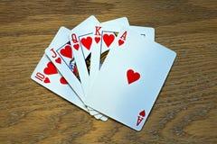 Крупный план 5 играя карточек - королевский приток Стоковое фото RF
