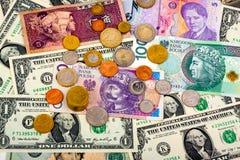 Крупный план иностранной валюты международных валют денег Стоковые Фото
