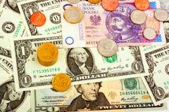 Крупный план иностранной валюты международных валют денег Стоковые Фотографии RF