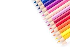 Крупный план карандашей цвета изолированных на белой предпосылке стоковая фотография rf
