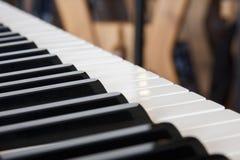 Крупный план клавиатуры рояля, расплывчатые музыкальные обои как предпосылка стоковые фотографии rf