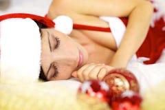 Крупный план красивейший ослабленный спать Santa Claus Стоковое Изображение