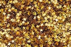 Крупный план крупного плана бумаг золотых звезд декоративного Стоковое Фото
