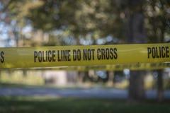 Крупный план ленты места преступления стоковые фото