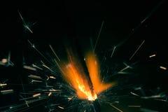Крупный план огня бенгальского огня рождества Стоковые Фотографии RF