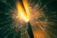 Крупный план огня бенгальского огня рождества Стоковое Изображение RF