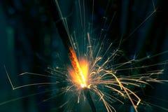 Крупный план огня бенгальского огня рождества Стоковая Фотография RF