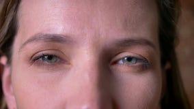 Крупный план очаровывать взрослые женские глаза смотря straught на камере с серьезным выражением лица акции видеоматериалы
