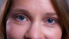 Крупный план очаровывать молодые кавказские женские голубые глазы смотря прямо на камере со счастливым выражением лица акции видеоматериалы