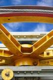 Крупный план паза и веревочки напрягая sheave стоковые фото