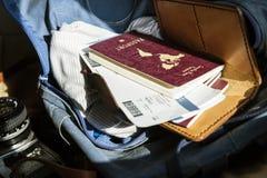 Крупный план пасспорта и посадочного талона Стоковые Изображения RF