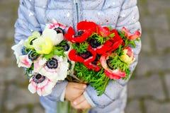 Крупный план рук девушки маленького малыша прекрасных с красным и белым садом цветков лютика весной поднимающее вверх младенца бл стоковая фотография rf