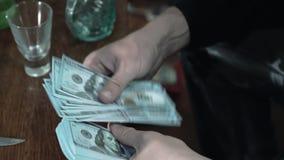 Крупный план рук Человек находит доллары Криминальный бизнес сток-видео