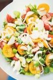 Крупный план салата томатов с луком, авокадоом и салатом Стоковая Фотография