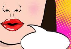 Крупный план сексуального открытого женского рта с розовой губной помадой кричащим a бесплатная иллюстрация