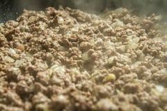 Крупный план семенить будучи сваренным мяса Стоковые Изображения RF