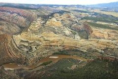 Крупный план сложенного каньона сформированного Green River, динозавр Стоковое Фото